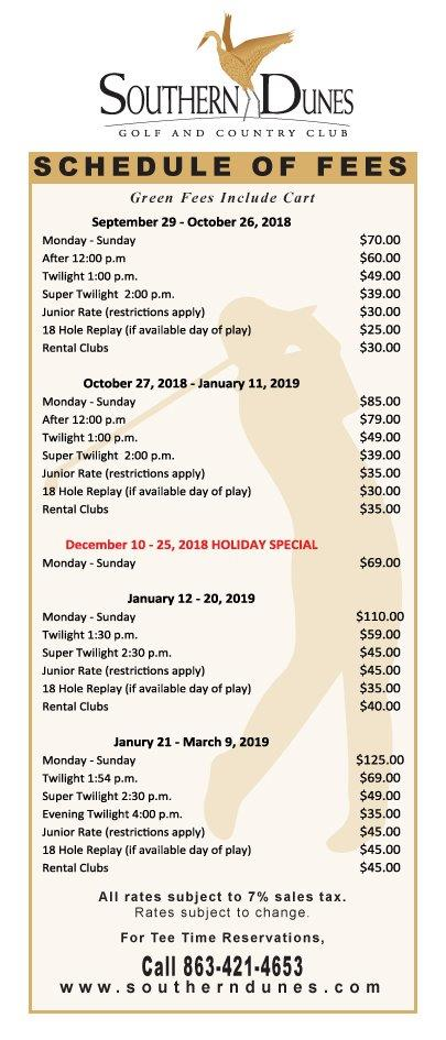 Schedule of Fees Fall Winter