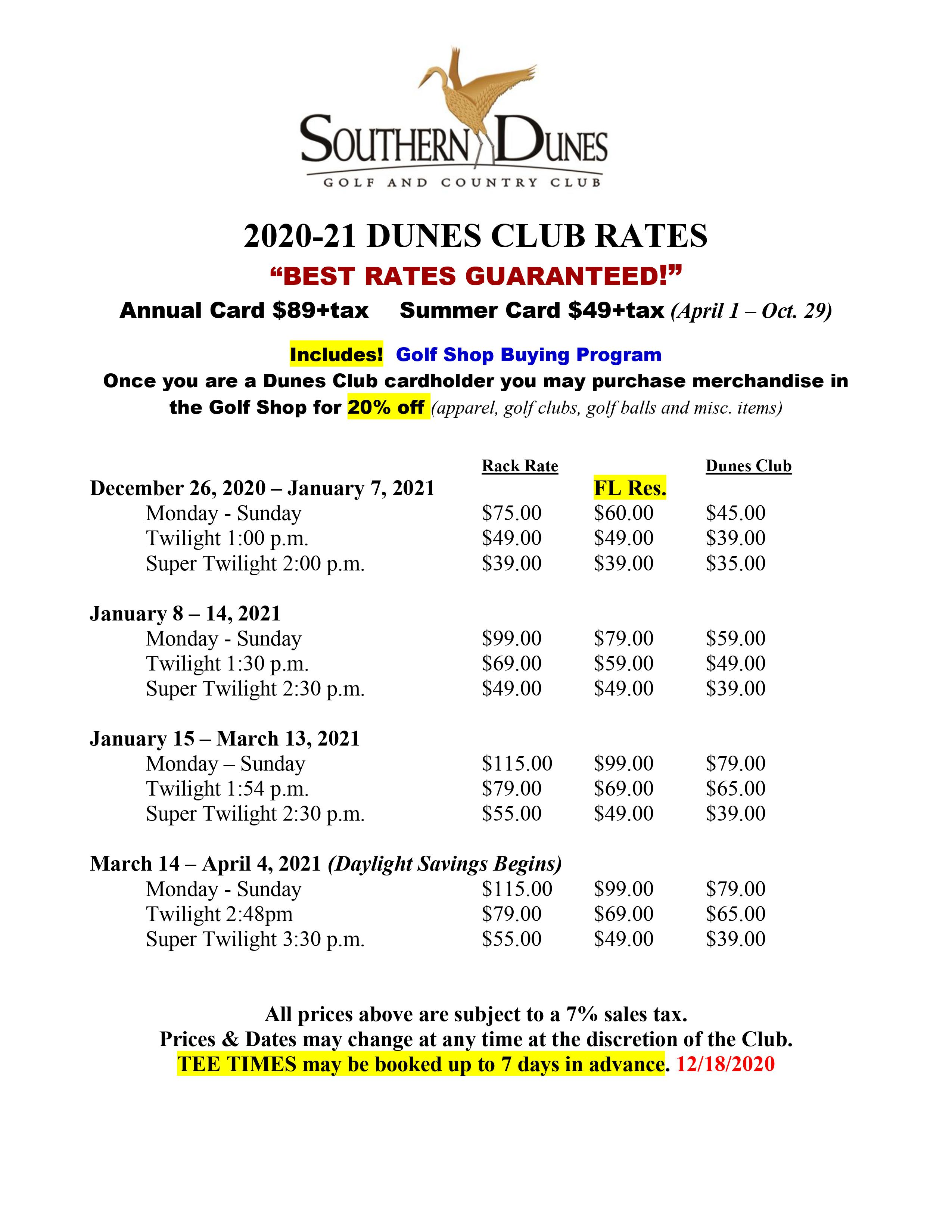 Dunes Club Rates 2020 revised